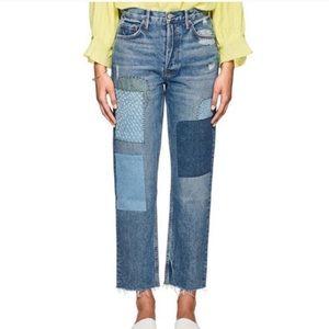 GRLFRND helena straight leg patchwork crop jeans